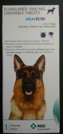 BravECTO Anti Tick And Flea Chewable Tablet For Large Dogs 20-40kg (Fluralaner 1000mg)