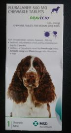 BravECTO Anti Tick And Flea Chewable Tablet For Medium Dogs 10-20kg (Fluralaner 500mg)