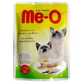 Me-O Adult Cat Wed Food Sardine With Chicken and Rice  80 Gms
